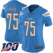 Wholesale Cheap Nike Chargers #75 Bryan Bulaga Electric Blue Alternate Women's Stitched NFL 100th Season Vapor Untouchable Limited Jersey