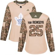 Wholesale Cheap Adidas Maple Leafs #25 James Van Riemsdyk Camo Authentic 2017 Veterans Day Women's Stitched NHL Jersey