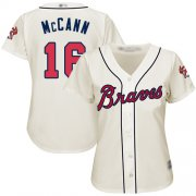 Wholesale Cheap Braves #16 Brian McCann Cream Alternate Women's Stitched MLB Jersey