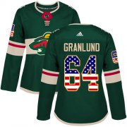 Wholesale Cheap Adidas Wild #64 Mikael Granlund Green Home Authentic USA Flag Women's Stitched NHL Jersey