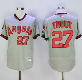 Wholesale Cheap Angels of Anaheim #27 Mike Trout Grey Flexbase Authentic Collection Cooperstown Stitched MLB Jersey