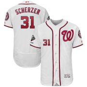 Wholesale Cheap Washington Nationals #31 Max Scherzer Majestic 2019 World Series Champions Home Flex Base Bar Patch Player Jersey White