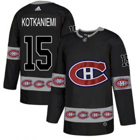 Wholesale Cheap Adidas Canadiens #15 Jesperi Kotkaniemi Black Authentic Team Logo Fashion Stitched NHL Jersey