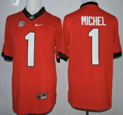 Wholesale Cheap Georgia Bulldogs #1 Sony Michel Red 2015 College Football Nike Limited Jersey