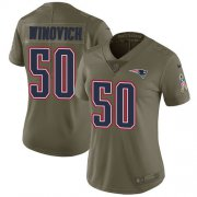 Wholesale Cheap Nike Patriots #50 Chase Winovich Olive Women's Stitched NFL Limited 2017 Salute to Service Jersey