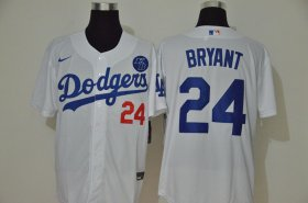 Wholesale Cheap Los Angeles Dodgers #24 Kobe Bryant Men\'s Nike White Cool Base KB Patch MLB Jersey