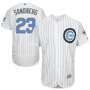 Wholesale Cheap Cubs #23 Ryne Sandberg White(Blue Strip) Flexbase Authentic Collection Father's Day Stitched MLB Jersey