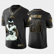 Cheap Philadelphia Eagles #26 Miles Sanders Nike Team Hero 2 Vapor Limited NFL 100 Jersey Black Golden