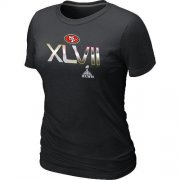 Wholesale Cheap Women's San Francisco 49ers Super Bowl XLVII On Our Way T-Shirt Black