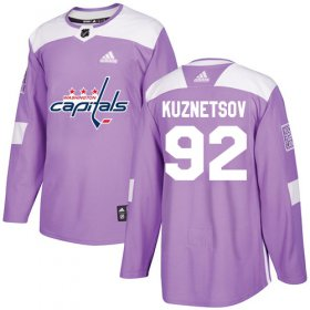 Wholesale Cheap Adidas Capitals #92 Evgeny Kuznetsov Purple Authentic Fights Cancer Stitched NHL Jersey