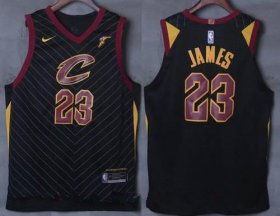 Wholesale Cheap Men\'s Cleveland Cavaliers #23 LeBron James Black 2017-2018 Nike Swingman Goodyear Stitched NBA Jersey