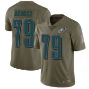 Wholesale Cheap Nike Eagles #79 Brandon Brooks Olive Youth Stitched NFL Limited 2017 Salute to Service Jersey