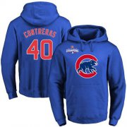 Wholesale Cheap Cubs #40 Willson Contreras Blue 2016 World Series Champions Primary Logo Pullover MLB Hoodie