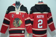 Wholesale Blackhawks #2 Duncan Keith Red Sawyer Hooded Sweatshirt Stitched NHL Jersey