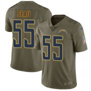Wholesale Cheap Nike Chargers #55 Junior Seau Olive Men's Stitched NFL Limited 2017 Salute to Service Jersey