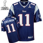 Wholesale Cheap Patriots #11 Julian Edelman Dark Blue Super Bowl XLVI Embroidered NFL Jersey
