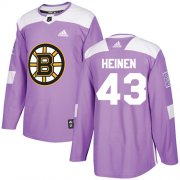 Wholesale Cheap Adidas Bruins #43 Danton Heinen Purple Authentic Fights Cancer Stitched NHL Jersey