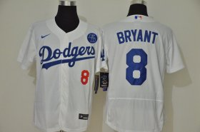 Wholesale Cheap Los Angeles Dodgers #8 Kobe Bryant Men\'s Nike White Authentic KB Patch MLB Jersey