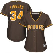 Wholesale Cheap Padres #34 Rollie Fingers Brown Alternate Women's Stitched MLB Jersey