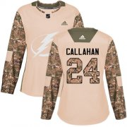 Wholesale Cheap Adidas Lightning #24 Ryan Callahan Camo Authentic 2017 Veterans Day Women's Stitched NHL Jersey