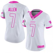 Wholesale Cheap Nike Panthers #7 Kyle Allen White/Pink Women's Stitched NFL Limited Rush Fashion Jersey