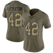 Wholesale Cheap Nike Raiders #42 Cory Littleton Olive/Camo Women's Stitched NFL Limited 2017 Salute To Service Jersey