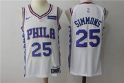 Wholesale Cheap Men's Philadelphia 76ers #25 Ben Simmons White 2017-2018 Nike Swingman Stubhub Stitched NBA Jersey