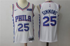 Wholesale Cheap Men\'s Philadelphia 76ers #25 Ben Simmons White 2017-2018 Nike Swingman Stubhub Stitched NBA Jersey