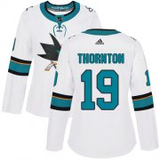Wholesale Cheap Adidas Sharks #19 Joe Thornton White Road Authentic Women's Stitched NHL Jersey