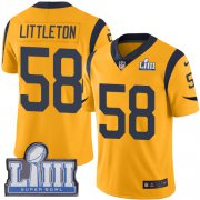 Wholesale Cheap Nike Rams #58 Cory Littleton Gold Super Bowl LIII Bound Men's Stitched NFL Limited Rush Jersey