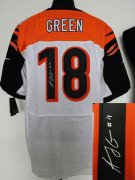 Wholesale Cheap Nike Bengals #18 A.J. Green White Men's Stitched NFL Elite Autographed Jersey
