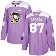 Wholesale Cheap Adidas Penguins #87 Sidney Crosby Purple Authentic Fights Cancer Stitched Youth NHL Jersey