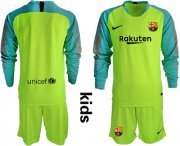 Wholesale Cheap Barcelona Blank Shiny Green Goalkeeper Long Sleeves Kid Soccer Club Jersey