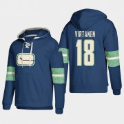 Wholesale Cheap Vancouver Canucks #18 Jake Virtanen Blue adidas Lace-Up Pullover Hoodie