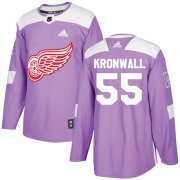 Wholesale Cheap Adidas Red Wings #55 Niklas Kronwall Purple Authentic Fights Cancer Stitched Youth NHL Jersey