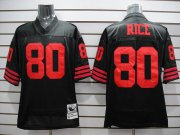 Wholesale Cheap Mitchell and Ness 49ers Jerry Rice #80 Stitched Black NFL Jersey