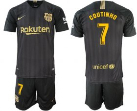 Wholesale Cheap Barcelona #7 Coutinho Black Soccer Club Jersey