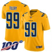 Wholesale Cheap Nike Chargers #99 Jerry Tillery Gold Men's Stitched NFL Limited Inverted Legend 100th Season Jersey