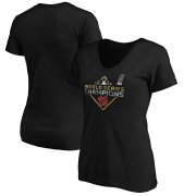 Wholesale Cheap Washington Nationals Majestic Women's 2019 World Series Champions Parade V-Neck T-Shirt Black