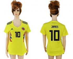Wholesale Cheap Women\'s Colombia #10 James Home Soccer Country Jersey