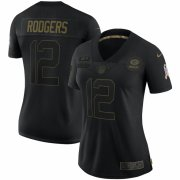 Cheap Green Bay Packers #12 Aaron Rodgers Nike Women's 2020 Salute To Service Limited Jersey Black