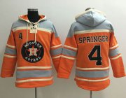 Wholesale Cheap Astros #4 George Springer Orange Sawyer Hooded Sweatshirt MLB Hoodie