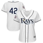 Wholesale Cheap Tampa Bay Rays #42 Majestic Women's 2019 Jackie Robinson Day Official Cool Base Jersey White