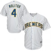 Wholesale Cheap Brewers #4 Paul Molitor White Strip Cool Base Stitched Youth MLB Jersey