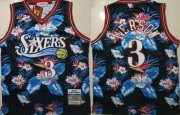 Wholesale Cheap 76ers 3 Allen Iverson Black 1997-98 Hardwood Classics Floral Fashion Swingman Jersey