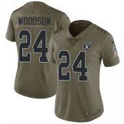 Wholesale Cheap Nike Raiders #24 Charles Woodson Olive Women's Stitched NFL Limited 2017 Salute to Service Jersey
