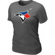 Wholesale Cheap Women's Nike Toronto Blue Jays Authentic Logo T-Shirt Dark Grey