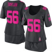 Wholesale Cheap Nike Giants #56 Lawrence Taylor Dark Grey Women's Breast Cancer Awareness Stitched NFL Elite Jersey