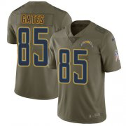 Wholesale Cheap Nike Chargers #85 Antonio Gates Olive Youth Stitched NFL Limited 2017 Salute to Service Jersey