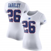 Wholesale Cheap Nike New York Giants #26 Saquon Barkley Women's Color Rush 2.0 Name & Number Performance T-Shirt White